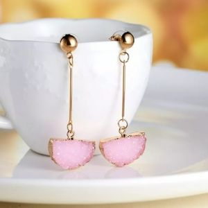 Pink Semicircle Drop Dangle Earrings